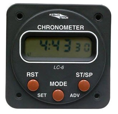 """Astrotech AT660100 Model LC-6 Black Aircraft Powered 14/28-Volt Lighting 2-1/4"""" Panel Hole Mounted Clock-Timer"""