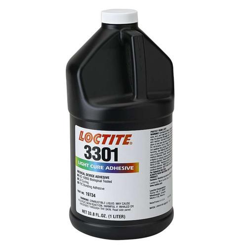 Henkel 19734 LOCTITE® AA 3301™ Transparent Light-Cure Acrylic Adhesive - Liter (33.8 oz) Bottle