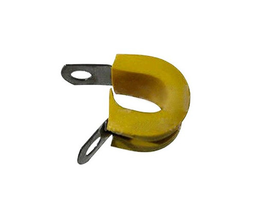 Military Specification M85052/1-4 Crescent Steel Yellow Nitrile Rubber Clamp, Loop