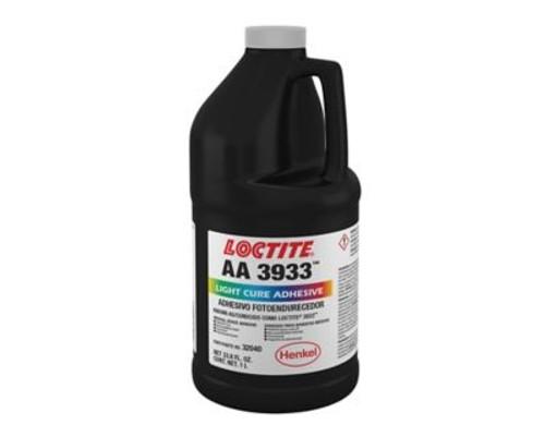Henkel 32040 LOCTITE® AA 3933™ Transparent Light-Cure Acrylic Adhesive - Liter (33.8 oz) Bottle