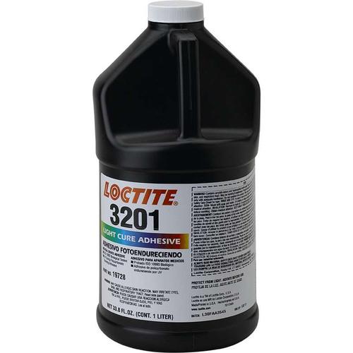 Henkel 19728 LOCTITE® AA 3201™ Transparent Light-Cure Acrylic Adhesive - Liter (33.8 oz) Bottle