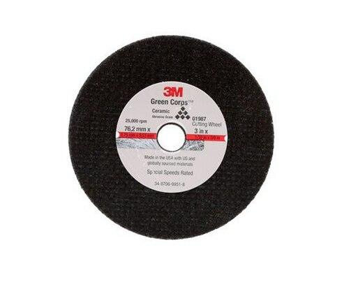 "3M™ 051131-01987 Black 3"" x 0.04"" x 3/8"" General Purpose Cut-Off Wheel"
