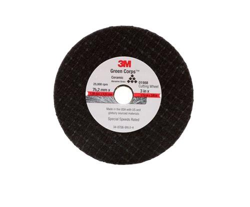 "3M™ 051131-01988 Black 3"" x 1/16"" x 3/8"" General Purpose Cut-Off Wheel"