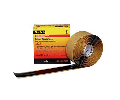 "3M™ 054007-09656 Scotch® 2228 Black 65 Mil Rubber Mastic Tape - 2"" x 10' Roll"