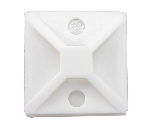 """HellermannTyton MB4A10H4 White 1.12"""" x 1.12"""" Adhesive Base Cable Tie Mount"""