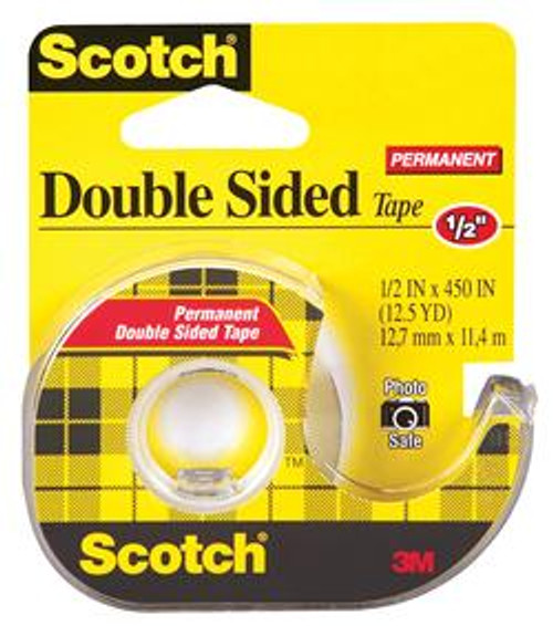 """3M™ 021200-01033 Scotch® 137 Transparent Double Sided Permanent Tape - 1/2"""" x 450"""" Roll - 12/Carton"""