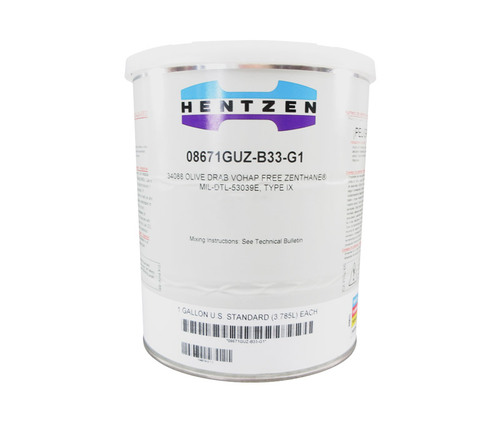 Hentzen 08671GUZ-B33 Zenthane® FS#34088 Olive Drab MIL-DTL-53039E Type IX Spec (CARC) Single Component 3.5 VOC VOHAP-Free Polymeric Bead Flattened Top Coat - Gallon Can