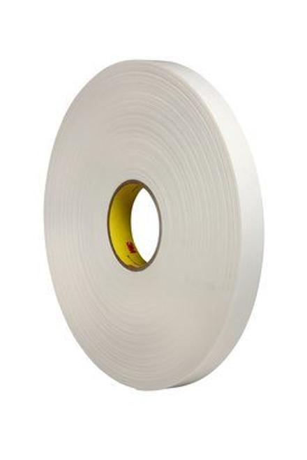 "3M™ 021200-24311 White 4462 Double 31.25 Mil Coated Polyethylene Foam Tape - 1"" x 72 Yard Roll"