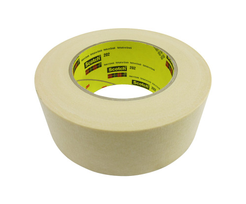 3M™ 021200-04227 Scotch® 202 Natural 6.3 Mil Crepe Masking/Painter's Tape - 48 mm x 55 m Roll