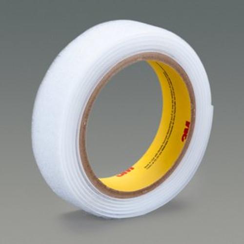 "3M™ 021200-62539 Scotchmate™ SJ3401 White Loop Fastener - 1"" x 0.15"" x 50 Yard Roll"