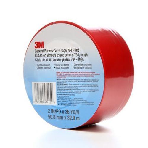 "3M™ 021200-43425 Scotch® 764 Red 5.0 Mil General-Purpose Vinyl Tape - 2"" x 36 Yard Roll"