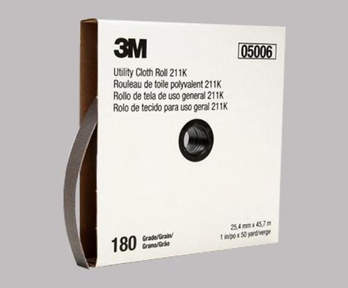 """3M™ 051144-05006 211K Gray 1"""" X 50 Yd 180 Grit Utility Cloth Roll - 5 Rolls/Pack"""