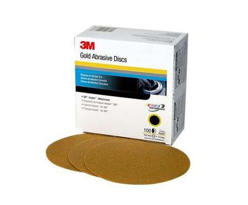 """3M™ 051131-00981 Hookit™ 236U Gold 6"""" P120 Grit Abrasive Disc - 4 Boxes/Case"""