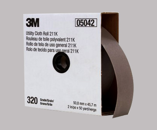 "3M™ 051144-05042 211K Gray 2"" X 50 Yd 320 Grit J-Weight Utility Cloth - 5 Rolls/Pack"