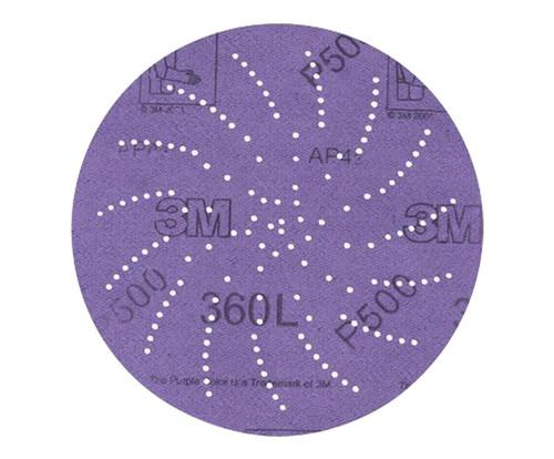 """3M™ 051141-20826 360L Purple 3"""" P500 Grit Sanding Disc - 100 Discs per Carton"""