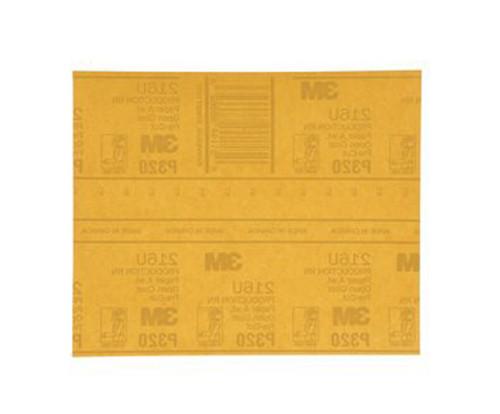 "3M™ 051131-02541 Production™ Resinite™ 216U Gold 9"" X 11"" P320 Grit Abrasive Sheet - 50 Sheets per Pack"