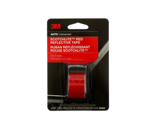 """3M™ 051131-03458 Scotchlite™ 03458 Red Reflective Tape - 1"""" x 36"""" Roll"""