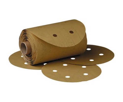 "3M™ 051131-01635 Gold 6"" P320 Grit Abrasive Disc - 175 Discs/Roll"