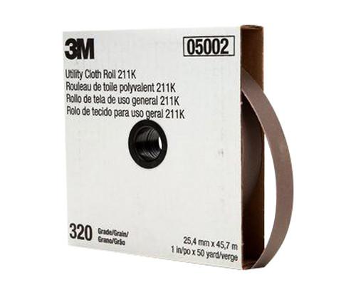 """3M™ 051144-05002 211K Gray 1"""" X 50 Yd 320 Grit Utility Cloth Roll"""