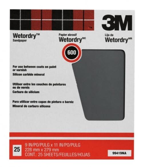"3M™ 051144-99419 9"" X 11"" 220 Grit Pro-Pak Wetordry Sandpaper - 25 Sheets /Pack"