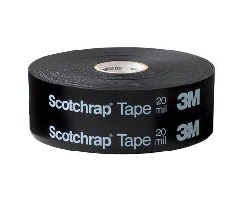 "3M™ 054007-42809 Scotchrap™ 51 Black 20 Mil Unprinted Vinyl All-Weather Corrosion Protection Tape - 6"" x 100' Roll"