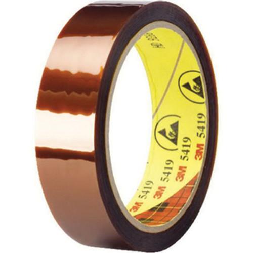 "3M™ 021200-30228 Gold 5419 Low 2.7 Mil Static DuPont™ Kapton® Polyimide Film Tape - 1"" x 36 Yard Roll"