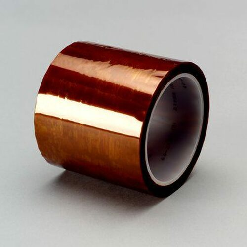 "3M™ 021200-16175 Amber 5413 Polyimide 2.7 Mil Film Tape - 2"" x 36 Yard Roll"