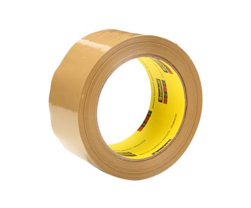 3M™ 021200-72401 Scotch® 375 Tan 3.1 Mil Box Sealing Tape - 48 mm x 50 m Roll