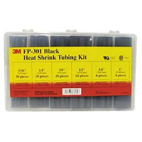 3M™ 051135-38139 Black FP-301 Heat Shrink Tubing Assorted Black 102-Piece Kit