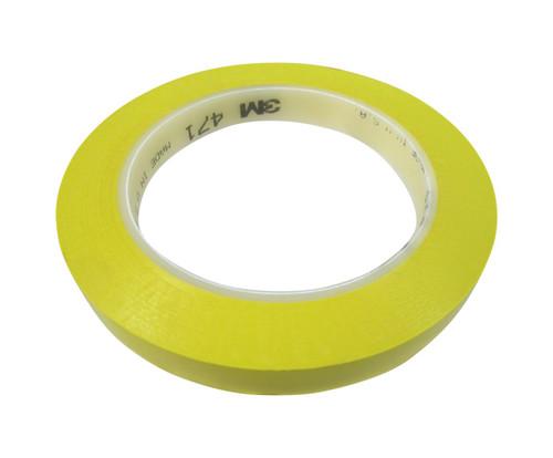 "3M™ 021200-07180 Yellow 471 Vinyl 5.2 Mil Tape - 1/2"" x 36 Yard Roll"