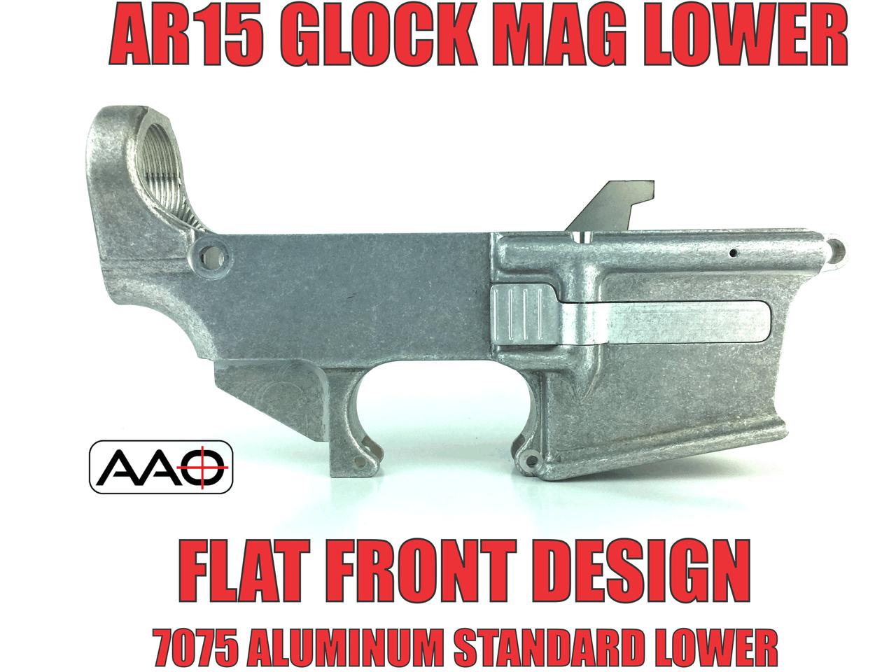 80% AR9/AR40 - Glock Magazine - Standard Lower - Flat Front - 7075 Raw (No  LRBHO)