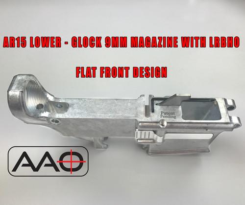 80% AR9/AR40 - Glock 9mm Mag w/LRBHO - Flat Front - AR15 Based Lower  Receiver - 7075 Raw
