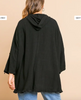 3/4 Roll Up Sleeve Button Front Hooded Jacket with Pockets and Frayed Hem-BLACK