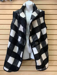 Black and White Plaid Vest with Toggle Button-One Size Fits Most