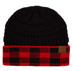 Red and Black Buffulo Plaid C.C. Beanie