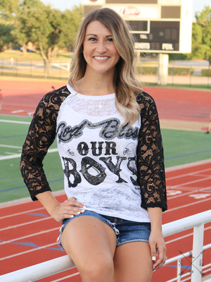 God Bless Our Boys Raglan Top Shirt Blouse, Black and White