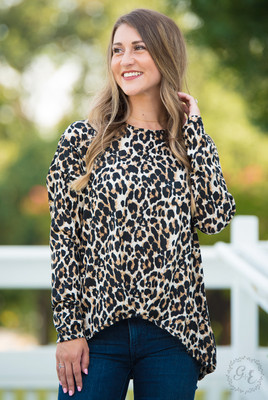 Long Sleeve Leopard Top with Front Knot