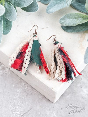 Coziest Christmas Tassel Earrings, Red and Green