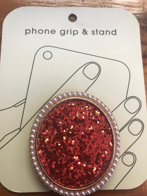 Emma Red Glitter Sparkle Phone Grip