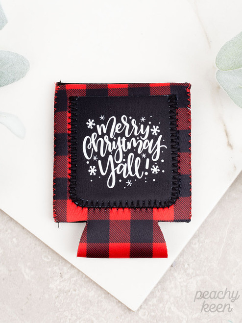 Peachy Keen Merry Christmas Y'all Buffalo Plaid Can Cooler