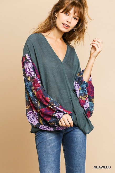 Sheer Floral Long Puff Sleeve V-Neck Crossbody Top (Seaweed)