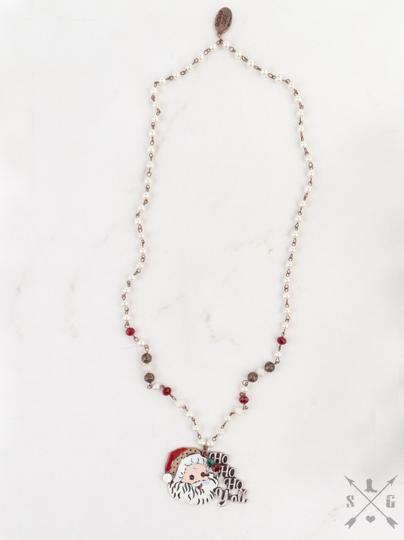 Ho Ho Ho Y'all Santa on Pearl & Red Beaded Necklace, Copper