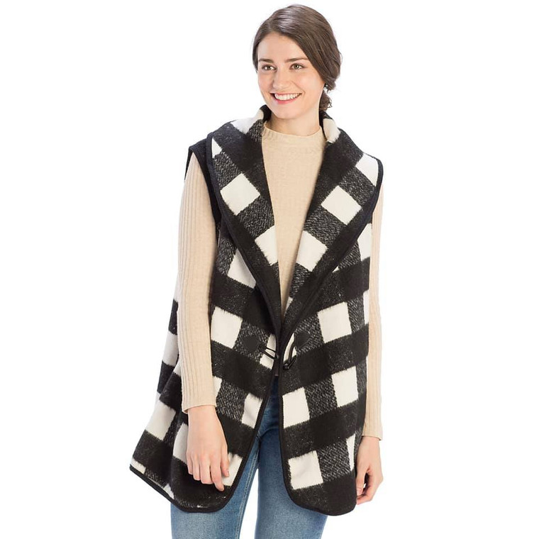 Black and White Buffalo Plaid Vest with Toggle Button-One Size Fits Most