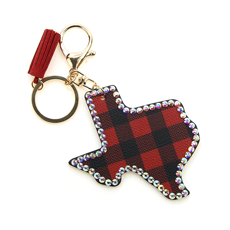 "Red and Black Buffalo Plaid Texas Keychain with Rhinestones 3.5"" x 3.5"""