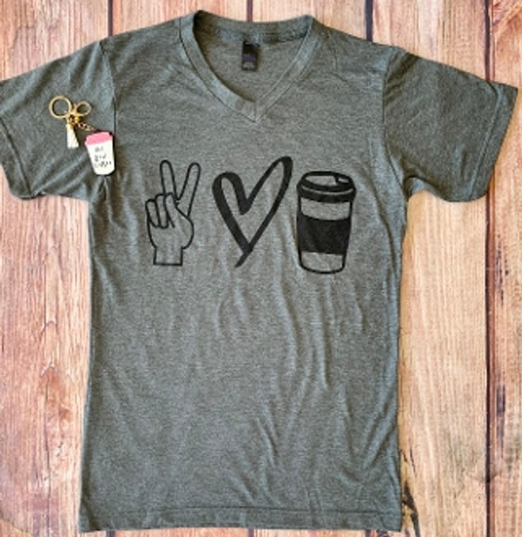 Peace Love Coffee Gray VNECK SHIRTS