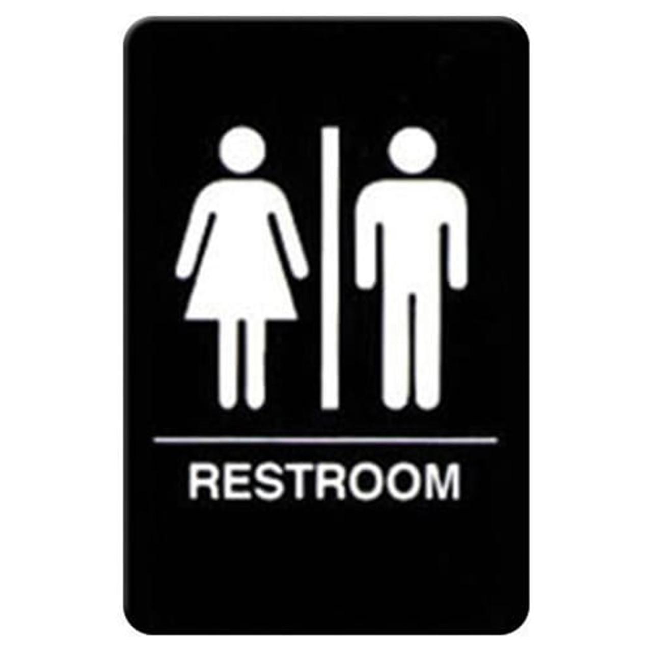 """Winco SGNB-603 Restrooms Sign, Braille - 6x9"""", Black"""