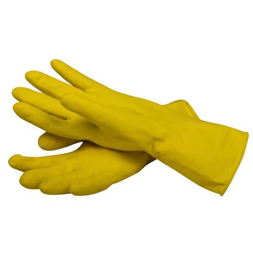 San Jamar 620-M Yellow Latex Flock Lined Glove, Medium