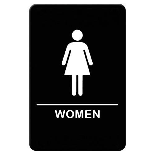 """Winco SGNB-606 Women Sign, Braille - 6x9"""", Black"""