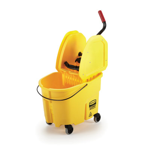 "Easily maintain your clean facility with this Rubbermaid FG757788YEL WaveBrake® 35 qt. yellow mop bucket with down press wringer! Featuring innovative WaveBrake® technology, this highly-durable, web-molded plastic bucket uses its incorporated baffle to disrupt wave formation and reduce splashing by up to 80%, minimizing excess noise, accidental messes, and costly slips and falls. Its easy-to-use down press wringer has a tubular steel construction and is covered with a contoured grip for optimal comfort. Not only does it provide users with the flexibility to control the wetness of their mop in relation to their cleaning situation, it is also tested to exceed 200,000 wringing cycles. As a bonus, the wringer attachment even features a mop stick rest so the user can conveniently rest the mop (sold separately) out of the way during transit without worrying about it falling over and possibly tipping the bucket.  Gliding smoothly on four non-marking casters that promote fast transportation and ensure excellent floor protection, this mop bucket is an ideal addition to any school, office, restaurant, or healthcare facility. Plus, it can be paired with a compatible dirty water bucket that keeps dirty water separate from your cleaning solution to help preserve its cleaning power, effectively reducing the amount of solution needed. A red handle on the back of the bucket makes lifting and dumping easier than ever! Boasting a yellow color that designates it to be used for back of house cleaning to prevent cross contamination, this WaveBrake® mopping system is built to handle any cleaning job, whether it be large or small.  Overall Dimensions: Length: 20 3/4"" Width: 16 3/4"" Height: 27 3/4"" Capacity: 35 qt."