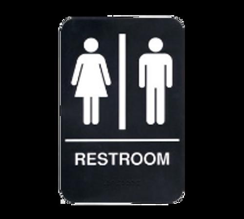 "Update S69B-4BK Restroom"" Braille Sign - 6x9"" White on Black"